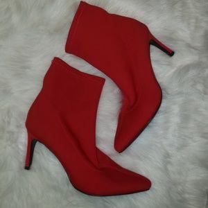 RED NYLON SOCK BOOTIE STILLETOS